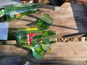 Cut apart bottle on bench with gap