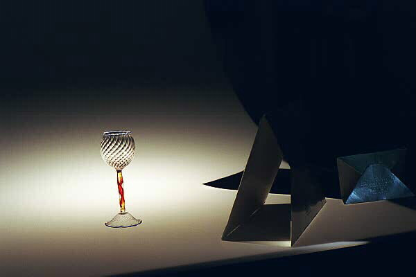 Setup shot of goblet on light panel.