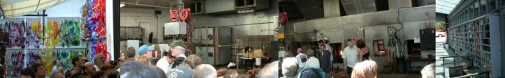 Dale Chihuly's hot shop at the Boat House as panorama