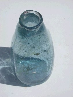 Example of square bottle blown in mold