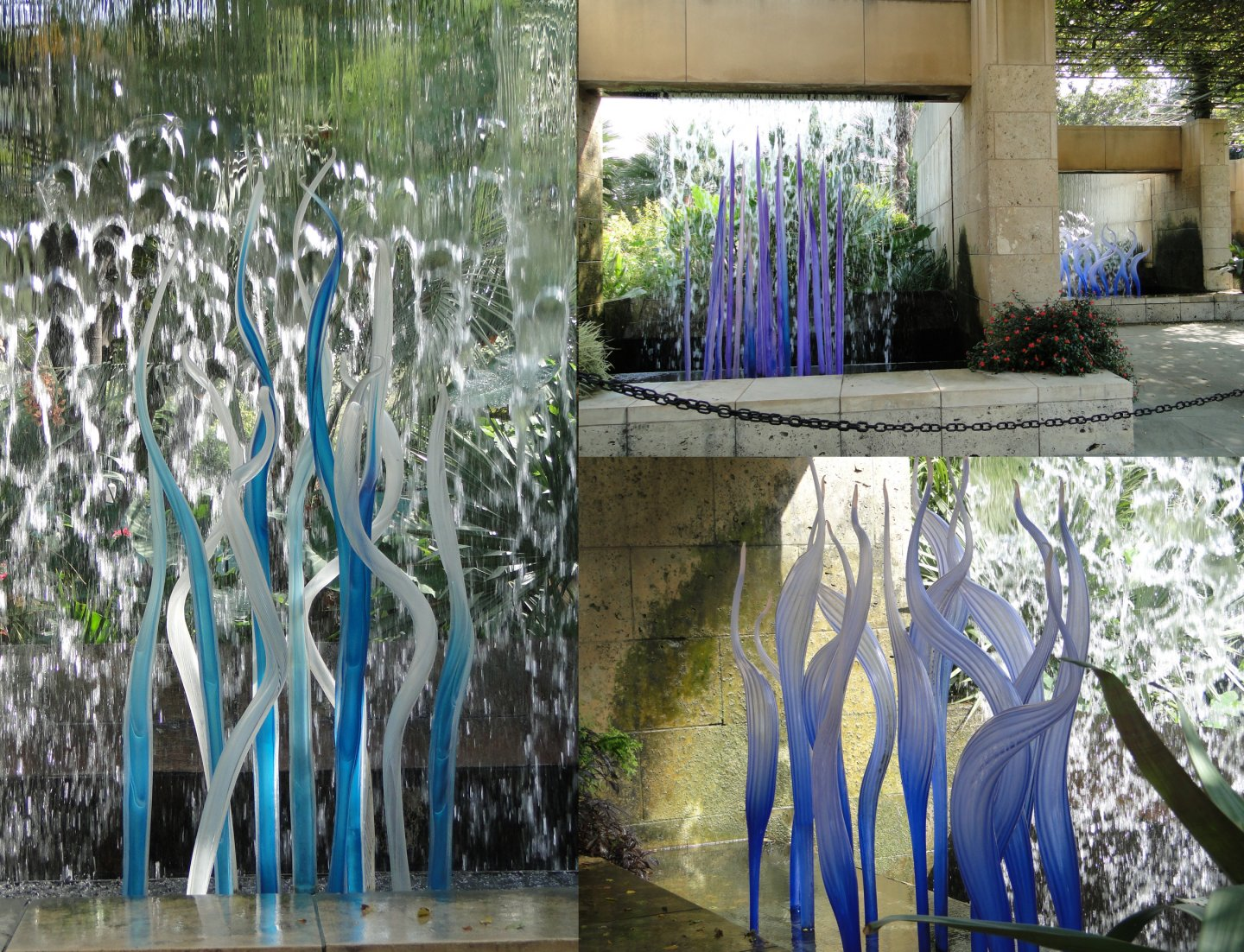 Chihuly blue glass snake spears in Arboretum falling water features.