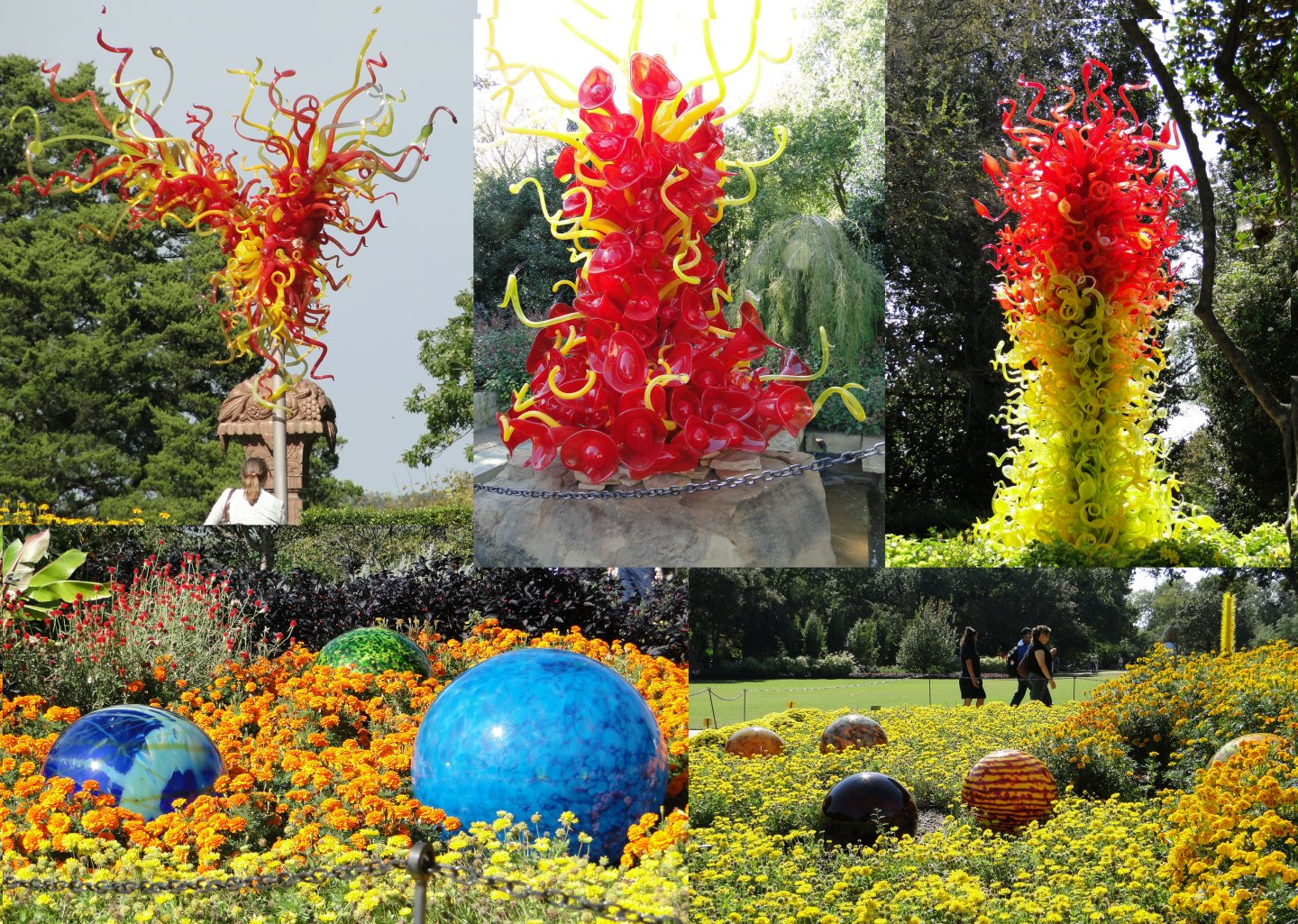 Chihuly balls in flower beds and tangled towers of various forms in yellow and red
