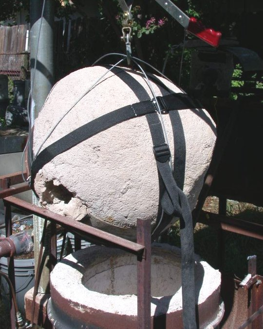 Furnace Dome hoisted , side view