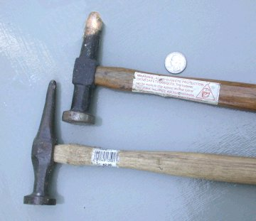 Metal working pick hammers, larger for automobile repair