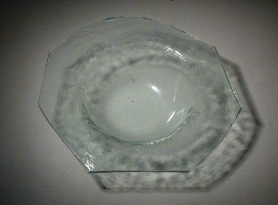 Simple sagged bowl from table top glass for Empty Bowls 2003