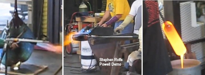 Torches and draining glass by Stephen Rolfe Powell's team