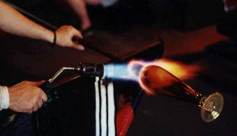Torch in use on a piece