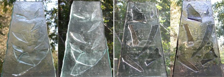 Water feature panels as suncatchers 4 panel